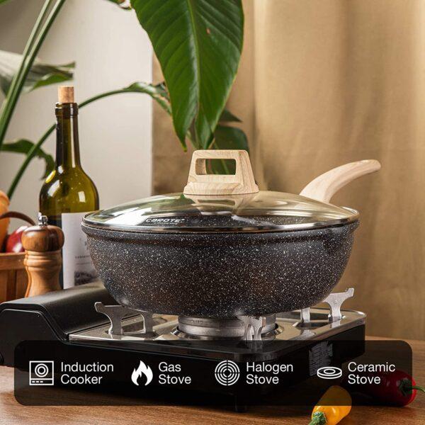 UnityJ UK Kitchen Deep Frying Pan 32cm 4 01
